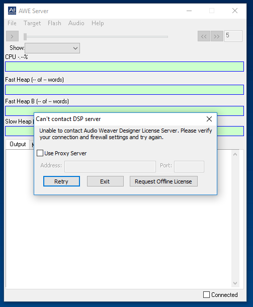 Can't contact DSP server